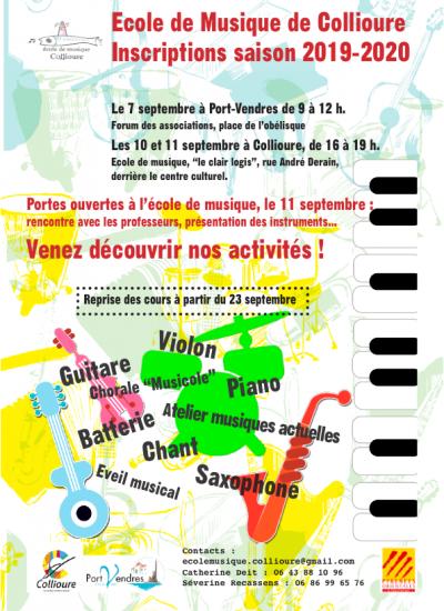 inscriptions ecole musique collioure 2019